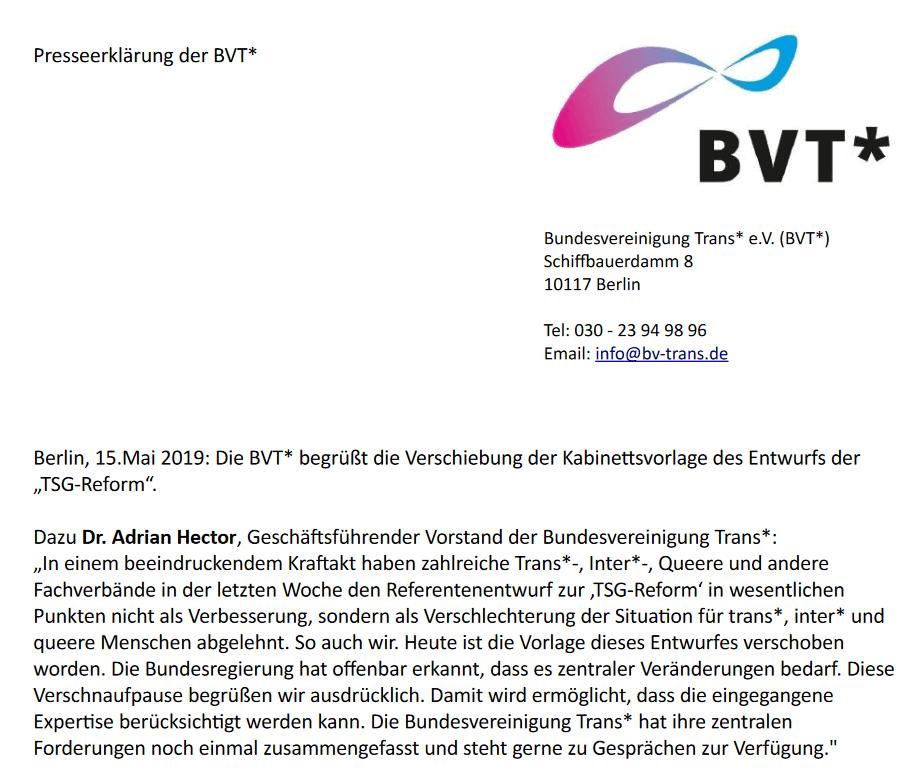 """""""Eilverfahren"""" Bei Der Reform Des Transsexuellengesetzes Zunächst Gestoppt"""