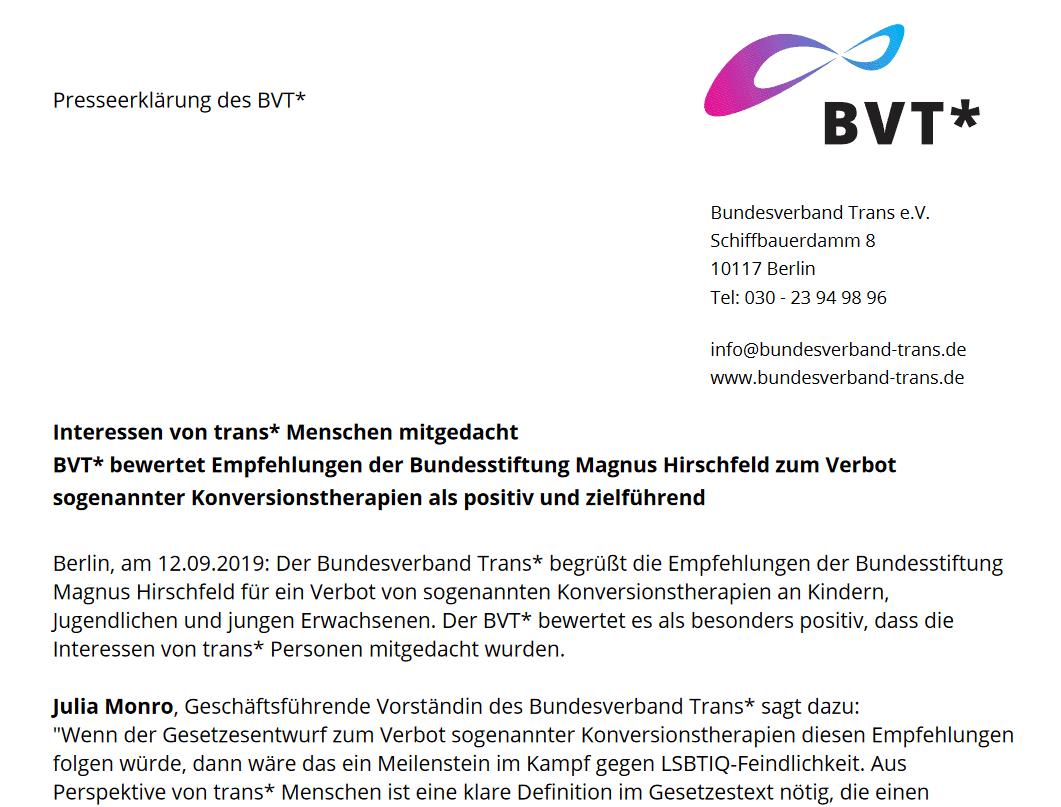 Interessenvontrans*Menschenmitgedacht – BVT* Bewertet Empfehlungen Der Bundesstiftung Magnus Hirschfeld Zum Verbot Sogenannter Konversionstherapien Als Positiv Und Zielführend