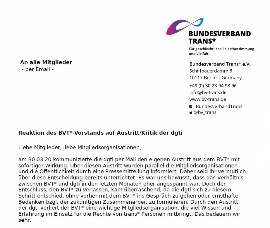 Antwort Des BVT*-Vorstands Auf Die Vorwürfe Der Dgti